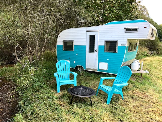 Vintage Travel Trailer by the Creek