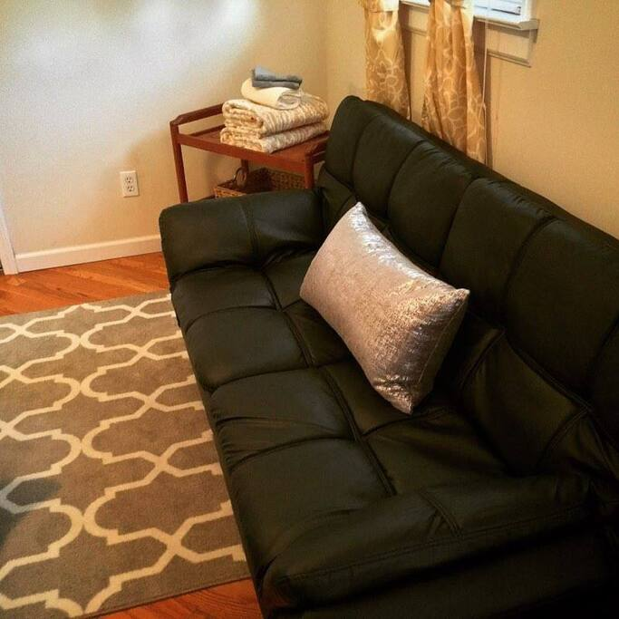 Futon in the main Airbnb room