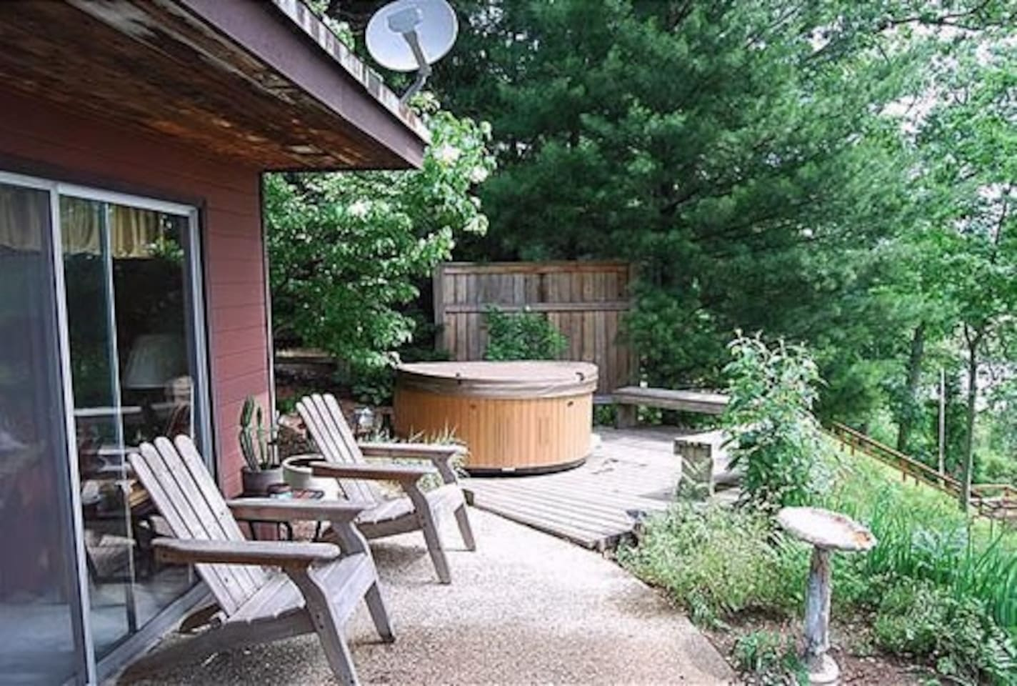 Hot tub overlooks marsh, private and steps the bedroom