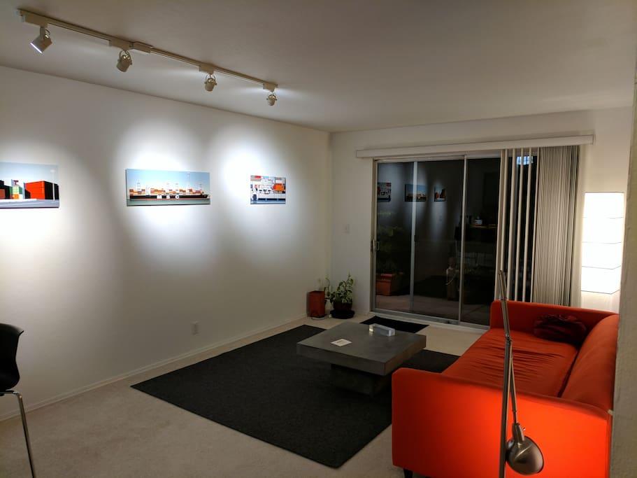 Living Room. Track lighting. Good for Reading
