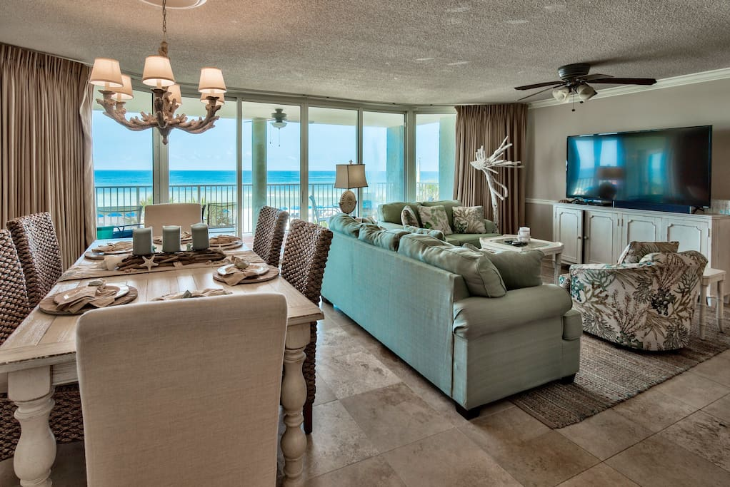 Ample seating and an amazing view from every seat in living area