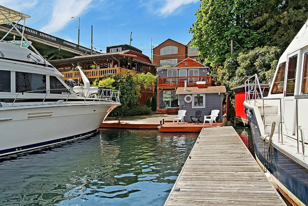 45 feet of waterfront- Home is 2 levels - 1400 SF -  Comfortable Rustic & Vintage Boat House Feel