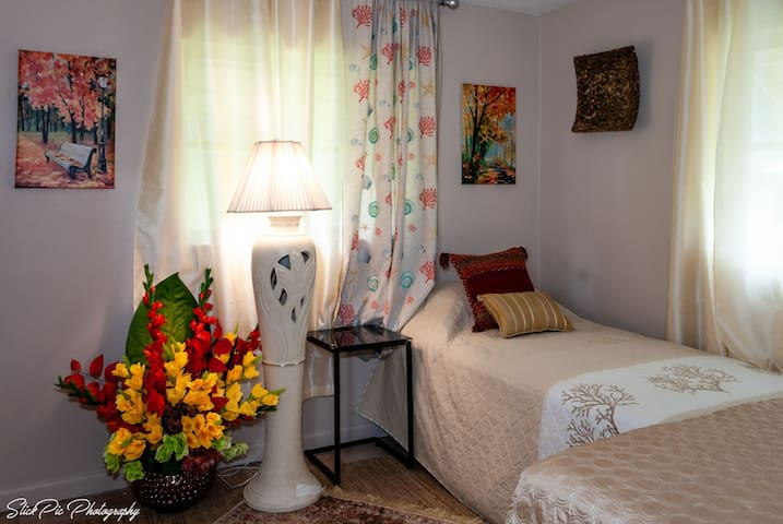 Guests room very comfortable  singles beds, ceiling fan, central air, tv