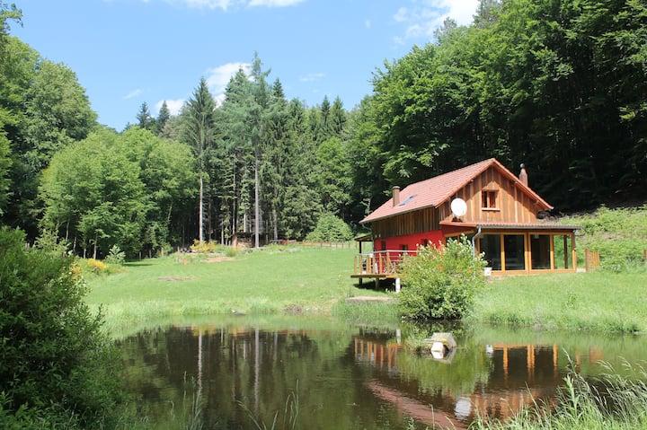 Chalet isolé en forêt et son petit étang de pêche