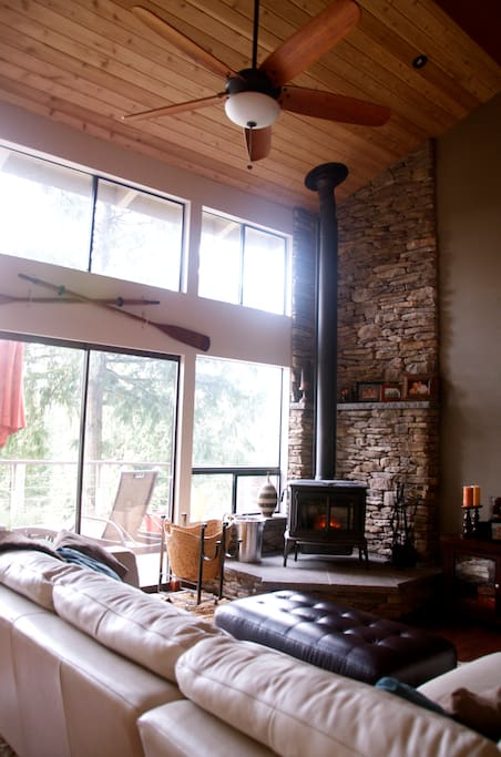 Custom rock wall with wood burning stove