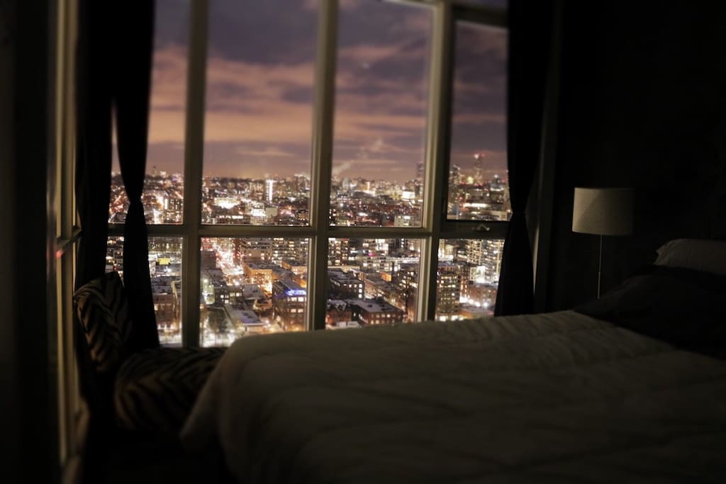 City View from the bed with lights-off