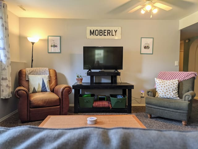 Cozy living room with new memory foam pull out bed