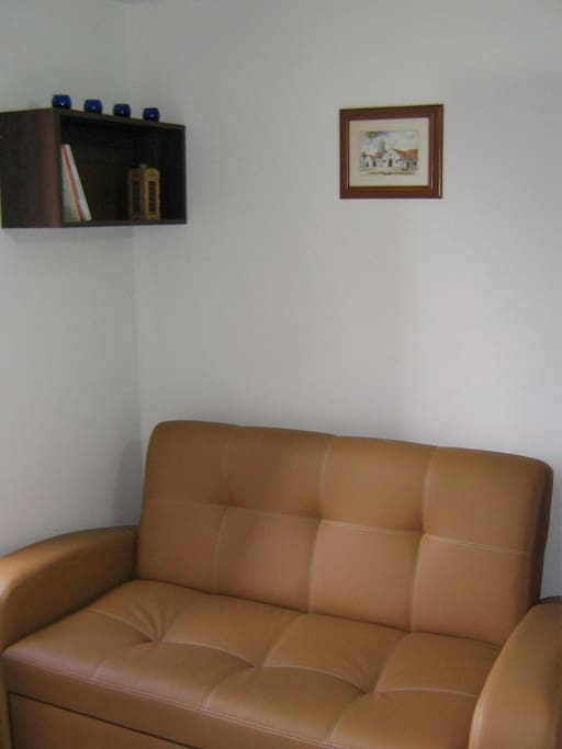 Double sofa bed closed