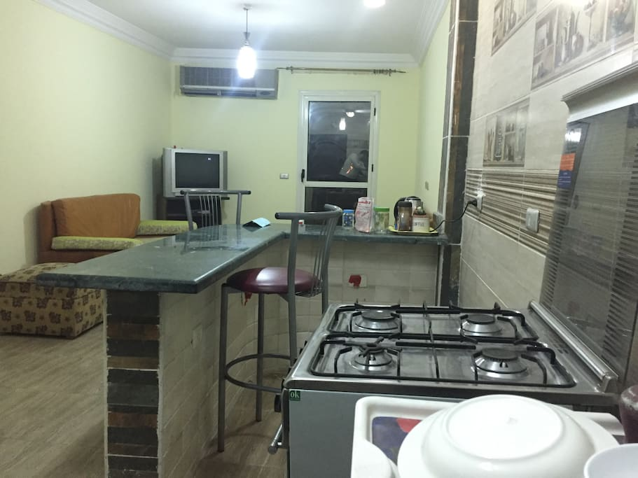 American kitchen, includes sink fridge and oven