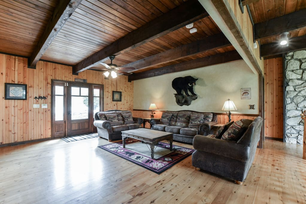 Upstairs Living area with quality furniture, 60' TV and Full mount  Black Bear