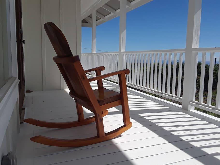 Enjoy the view from hawaiian hardwood handmade rocker