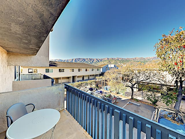 Inspiring views of the Santa Ynez Mountains greet you on your private balcony, where there's a bistro table for 2.