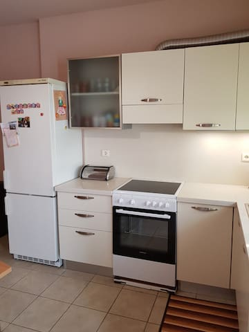 A fully-equiped  kitchen with oven, refrigerator and a dishwasher.