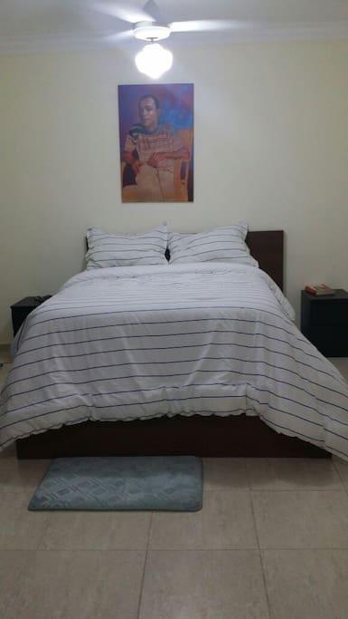 Habitación amplia, cómoda cama. Un clóset!