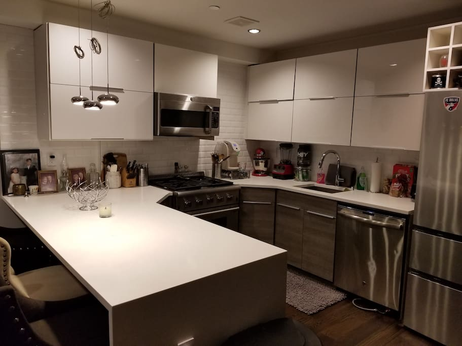 large kitchen for use with all cooking items available for use.  Kure