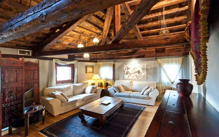 The living room with ancient exposed beams