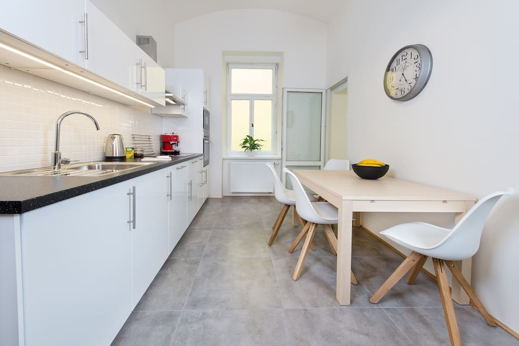 Kitchen: My kitchen is equipped with modern appliances, plates, cutlery