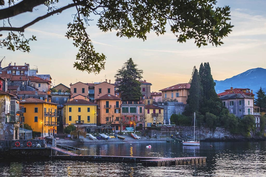 Varenna waterfront. Varenna Villa located in the center of the image