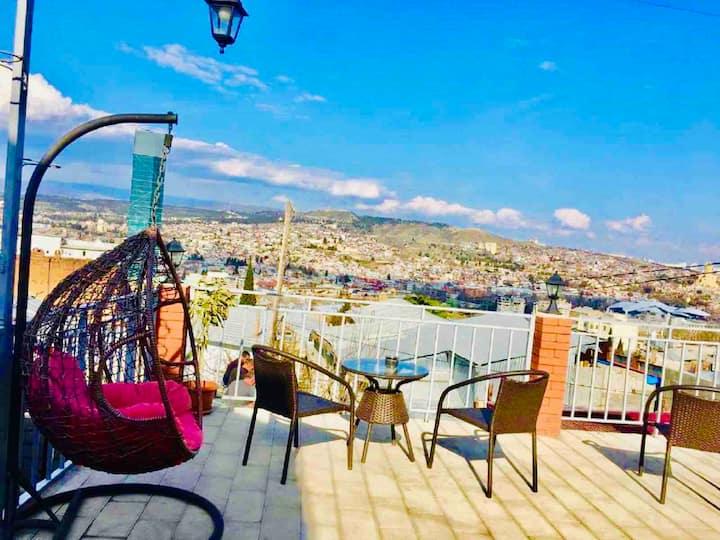 RUSTAVELI AV. in 200 meters apartment with terrace