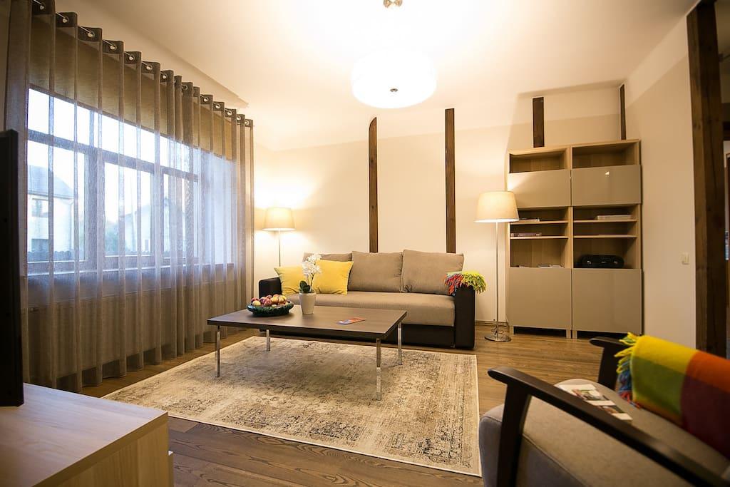 Wohnzimmer mit Schlafsofa 160x180