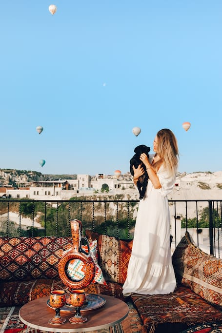 Watch the balloons rise over beautiful Cappadocia from our roof terrace!