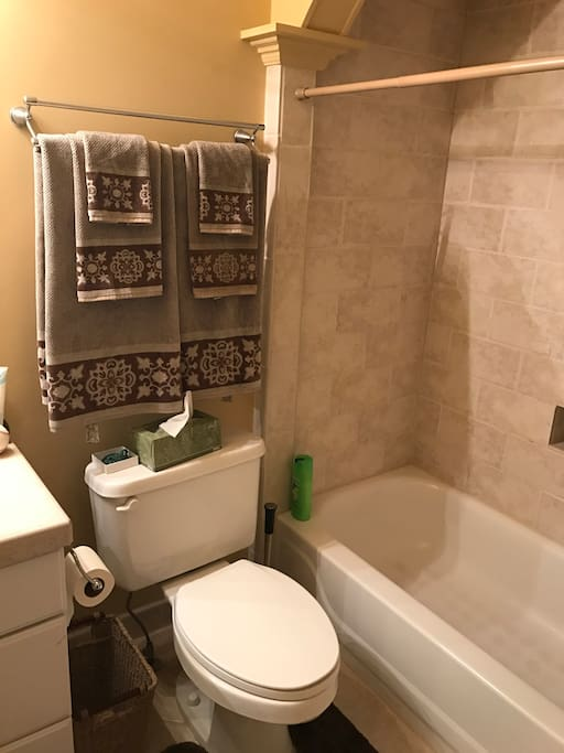 Private bath with Marble Tub. Toiletries are included with stay