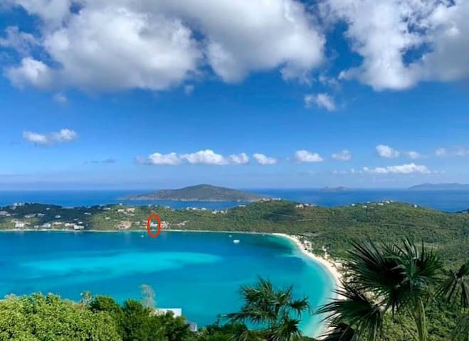 Villa Eau Claire's commanding location right on Magens Bay in St. Thomas.