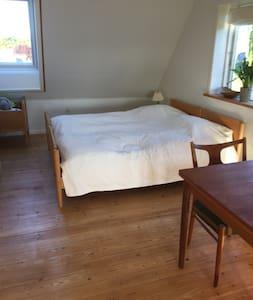 Stort lyst værelse  og adgang til terrasse og have