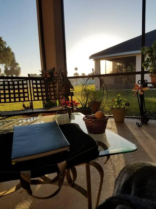 Screened patio / backyard,  facing the sunrise