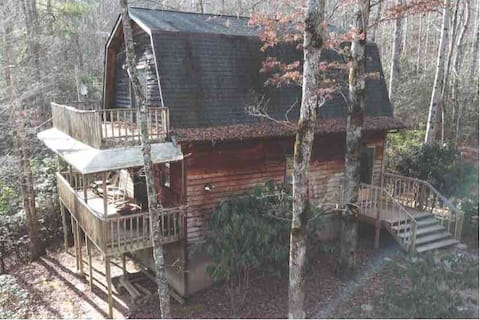 Cabin in Pisgah National Forest with waterfall.