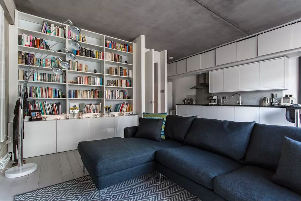 Comfy sofa and relaxing bookshelf