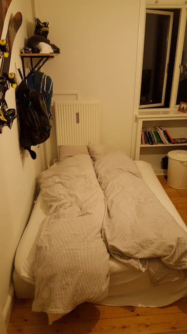 Bedroom. Its is a double size bed, so a couple or two good friends can easily sleep there.