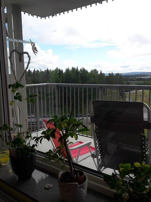 Utsikt från vardagsrummet mot balkongen