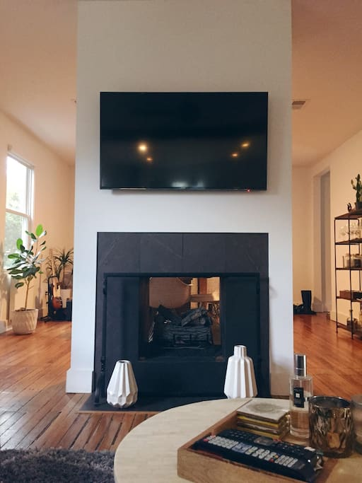 Snuggle up by the fire and watch your favorite movie or show.