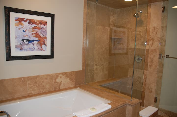 Soaking tub and shower.