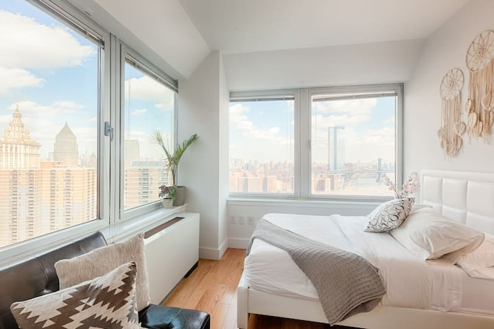 Comfortable bed and great views