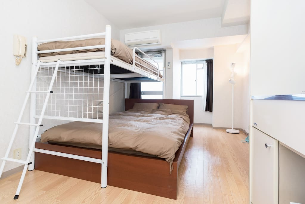 1 single size bunk-bed, 1 double-size bed
