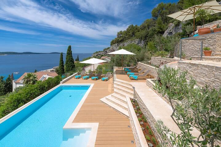 Luxury Villa Hvar Carpe Diem with private pool and staff by the sea on Hvar island