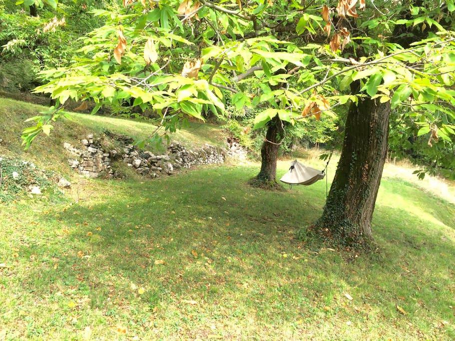 Hängematte im oberen Teil des Gartens