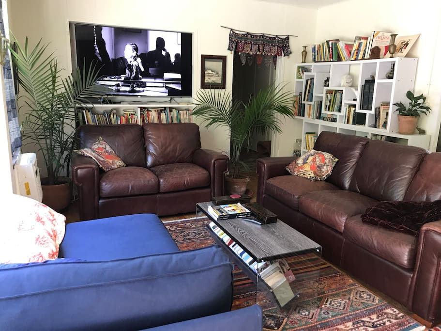 """Living room with cordovan leather sofas, 65"""" tv, and a cornucopia of books"""