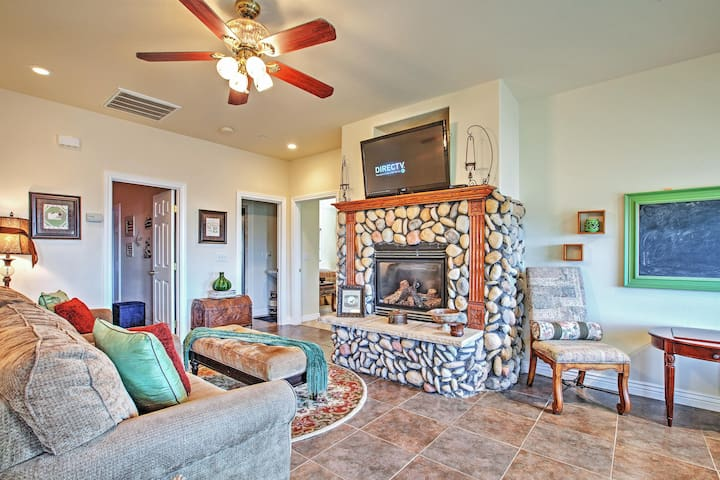 You'll love the dazzling fireplace.