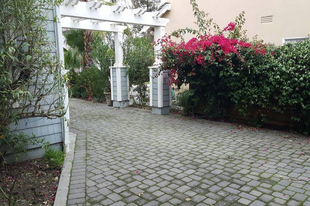 driveway leading to the side door
