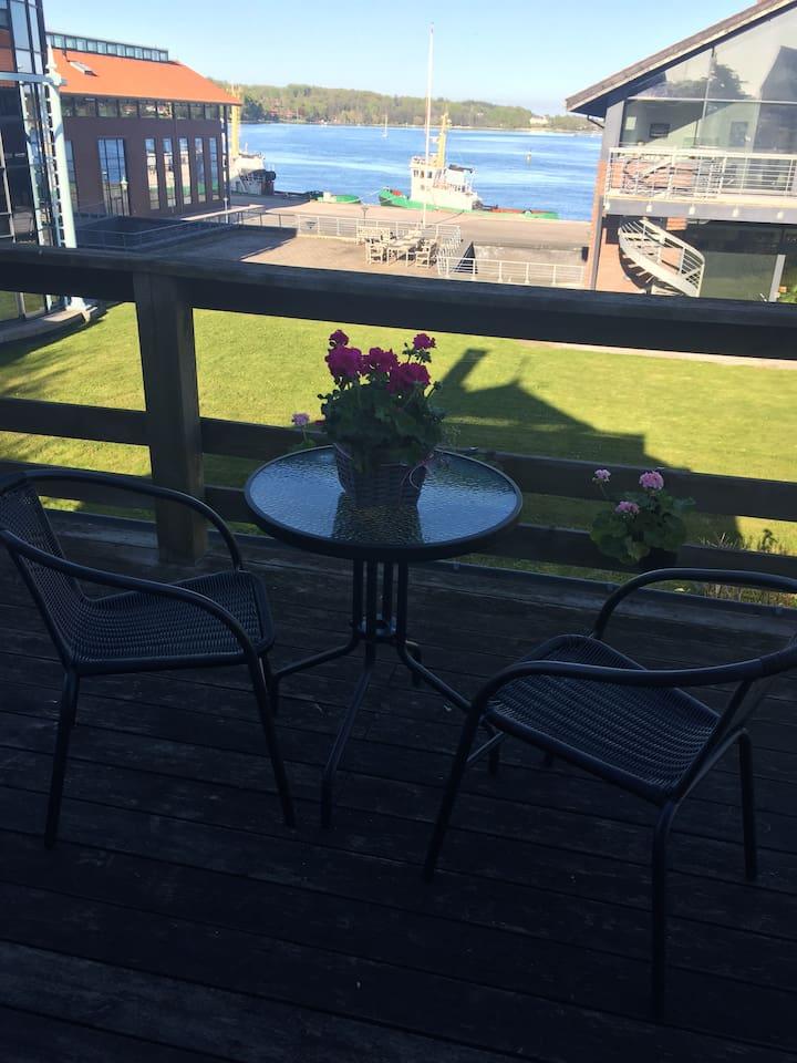 Stor terrasse med udsigt over Svendborg sund