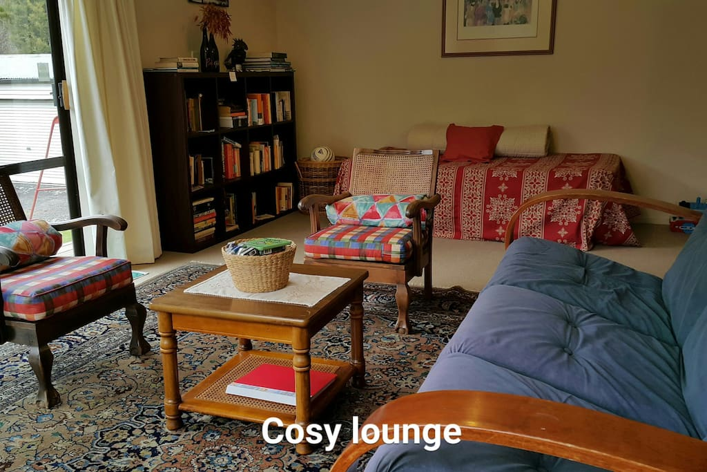 Cosy lounge with books, games, toys, freeview tv, dvd's
