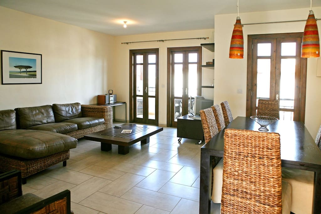 Relax and unwind in you spacious living area after a day at the spa.
