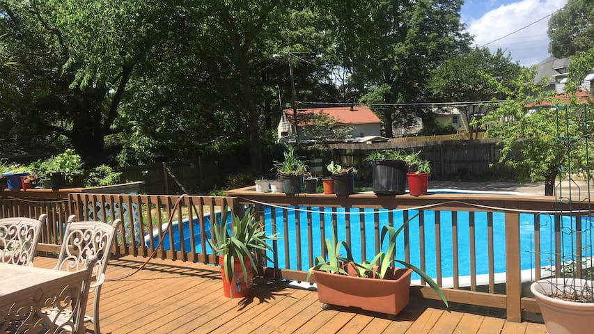 Huge deck with Pool & Koi Pond!