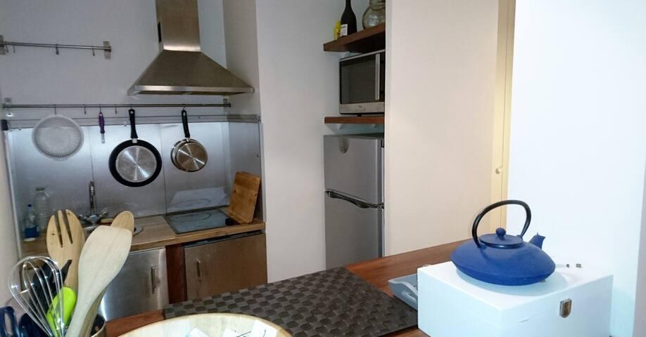 Cuisine totalement équipée avec lave vaisselle, four, micro-onde,  frigo, congélateur, plaque vitro, hotte.