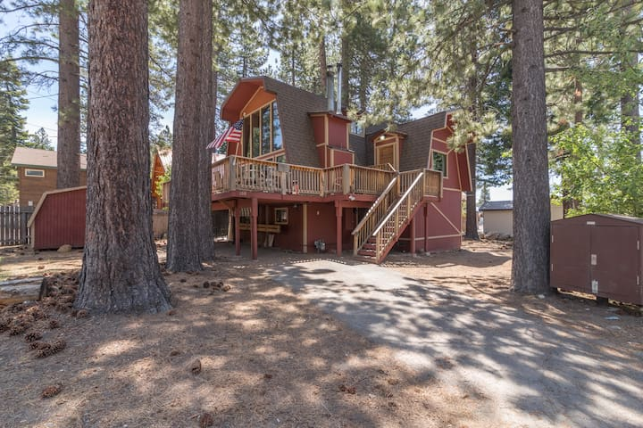 This original Tahoe Vista Cabin is nestled in the trees.