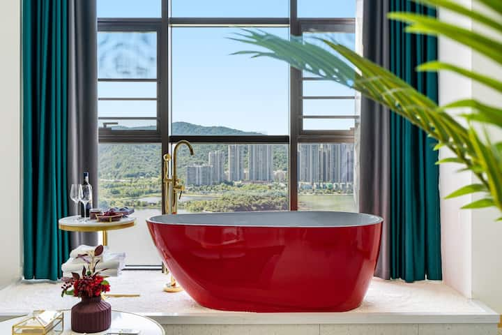 【轻奢•莫兰迪】浴缸私影一线湖景loft一居