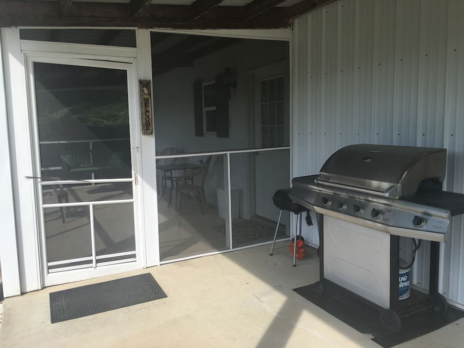 Both a charcoal and propane grill are available.